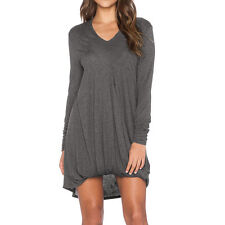 Women Long Sleeves V Neck Ruched Front Tunic Dress