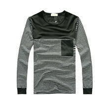 Mens Stylish Two Tone Long Sleeve Stripes Stretchy Top Shirt