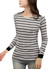 Woman Stretchy Cuff Long Sleeves Scoop Neck Stripe Print Shirt