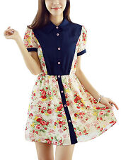 Lady Point Collar Short Sleeve Button Up Floral Prints Dress