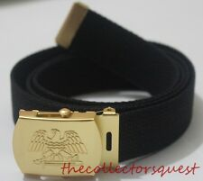 NEW GOLD EAGLE ADJUSTABLE BLACK CANVAS MILITARY GOLF WEB BELT VINTAGE BUCKLE