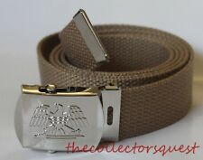 NEW EAGLE ADJUSTABLE KHAKI CANVAS GOLF MILITARY WEB UNIFORM BELT CHROME BUCKLE