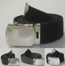 "NEW ADJUSTABLE 56"" INCH ASSORTED CANVAS MILITARY WEB UNIFORM BELT CHROME BUCKLE"