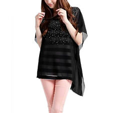 Ladies Spliced Short Sleeve Fake Two Pieces Chic Dress