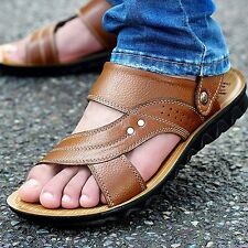 Men's Leather Casual Comfort Strap Sandals Walking Sports Summer Beach Shoes