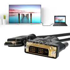 1080P 6ft to 32ft HDMI Male to DVI-D Single 18+1 Male Adapter Cable HDTV Cord