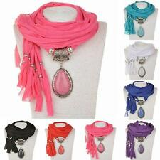 Unique Water Drop Resin Crystal Gem Pendant Fabric Shawl Scarf Wrap Necklace