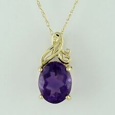 Solid Gold Amethyst Gemstone Solitaire Pendant GSP545