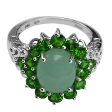 Solid Gold Milky Aquamarine & Chrome Diopside Right Hand Ring GSR108