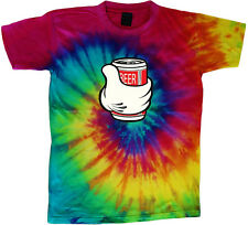 tie dye t-shirt beer can funny cool colorful tie dyed tee shirt
