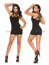 Sexy CRISS CROSS MICRO MINI DRESS w/SPANDEX Caged Neckline RAVEWEAR CLUBWEAR