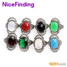 Tibetan Silver Marcasite Gemstone Energy Rings Fashion Women Jewelry Mother Gift