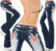 Ladies Bootcut Hipster stretch Denim Jeans tattoo Blue crazy Age Sizes UK 6-14