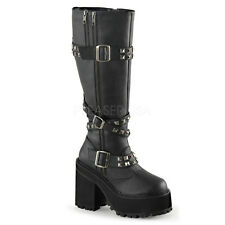 "Demonia Assault 4.75"" Platform Heel Black Knee Boots 6 7 8 9 10 11"