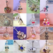 Belly Bars Top Drop Reverse Clear Crystal Dangly Body Piercings Small Navel Bar