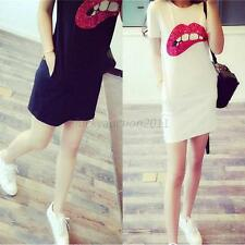 Women Short Sleeve Sequined Lip T-Shirt Summer Casual Loose Long Top Mini Dress