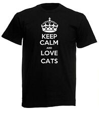 NEW MENS WOMENS BOYS GIRLS KEEP CALM AND LOVE CATS T SHIRT AGE 1 - 6XL