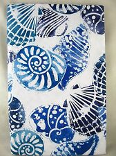 Assorted Sizes Blue & White Sea Shells Umbrella Hole Zippered Vinyl Tablecloth