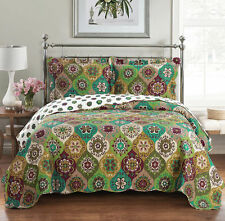 3PC Bonnie Oversize Coverlet Luxurious Colors Reversible Quilt 100% Microfiber