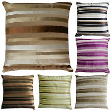 """Luxury STRIPED Chenille & Suede Filled Cushions or Cushion Covers 18"""" / 45cm"""