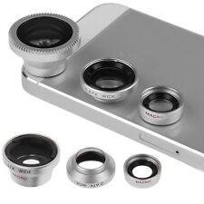 3in1 Fisheye Lens + Wide Angle + Micro Lens Photo Kit For iPhone 4 4S 5 5S HTC
