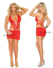 Plus Size RED HALTER MINI DRESS Deep-V Front Cutout Sides Strappy Back SPANDEX