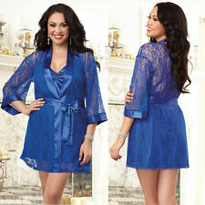 Plus Size Lingerie One Size 1X / 2X or 3X /4X Sapphire Robe and Chemise DG9105X