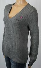 Ralph Lauren Grey Cable Knit V-Neck Sweater Pink Pony NWT