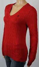 Ralph Lauren Red Cable Knit V-Neck Sweater Navy Blue Pony NWT
