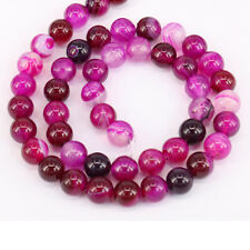 1Bunch Rose Red Stripes Agate Round Loose Bead Charm Pendant Necklace Jewelry