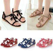 Summer Tassel Flat Sandals T-Strap Suede Ankle Strap Gladiator Shoes Women M0V5