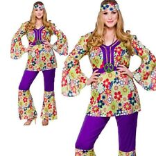 Hippie Chick Costume 1960s 60s Hippy Ladies Fancy Dress Outfit Size 6/28
