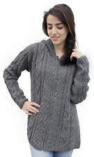 Womens Superfine Alpaca Wool Cable Handknitted Jacket Sweater With Hood
