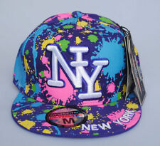 New York NY City Hunter Purple Paint Splash Hat Fitted Flat Peak Baseball Cap
