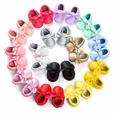 Baby Newborn Kids PU Tassels Fringe Soft Sole Moccasin Prewalker Crib Shoe New