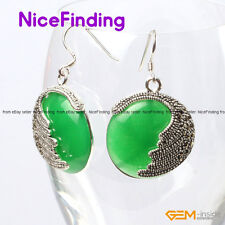 25mm Coin Beads Marcasite Silver Drop Dangle Hook Earrings Jewelry For Xmas Gift