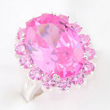 Amzing Woman Gift Genuine Sweet Pink Topaz Gemstone Solid SIlver Rings Sz 7  8 9