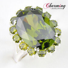 Mother'S Day Gift Gorgeous 100% Natural Olive Peridot Gems Silver Rings Sz 7 8 9