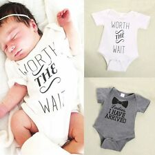 New Baby Boys Girls Bowtie Quote Romper Jumpsuit Bodysuit Outfits Clothing 0-12M
