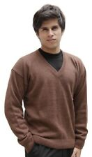 Men's Superfine Alpaca Wool Knitted V-neck Solid Sweater