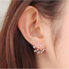Fashion Crystal Leaf Ear Jacket Earrings Gold Plated Back Cuff Stud Earring COH