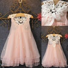 Pageant Toddler Baby Girls Party Dress Pearl Lace Tulle Gown Formal Dress 2-7Y