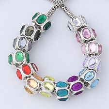 20pc Silver Plated Oval Acrylic Charm Bead Fit European Bracelet AB920