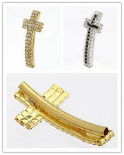 10pc Gold Plated Crystal Cross Curved Long Tube Spacer Charm Beads 36x20mm C0583