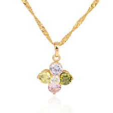 18K Gold Plated Multicolor CZ Circle Flower Pendant Fit Long Chain Link Necklace