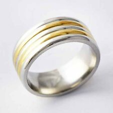 Yellow Gold Plated stainless steel Mens Promise Fine Band Ring Size 7 8 9 10 11
