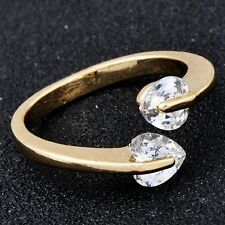 free shipping Womens Heart wedding Ring adjustable  Gold Plated size  5-8