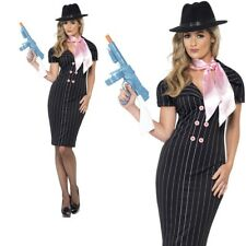 Ladies Gangsters Moll Costume 20's Mafia Womens Fancy Dress Outfit