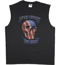 Men's sleeveless t-shirt live free or die American flag USA muscle tee tank top