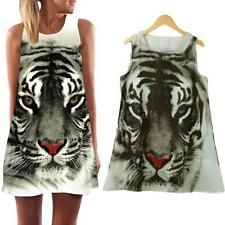 Women Tiger Print Mini Dress Casual Beach Summer Loose Shirt Tops Dress Y3L1